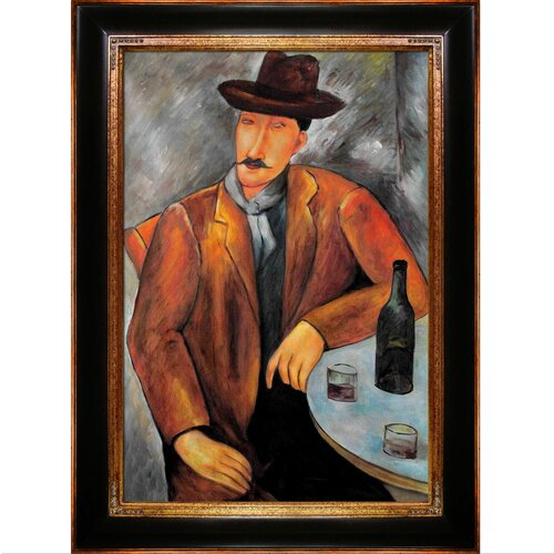 Tori Home Seated Man by Modigliani Framed Original Painting