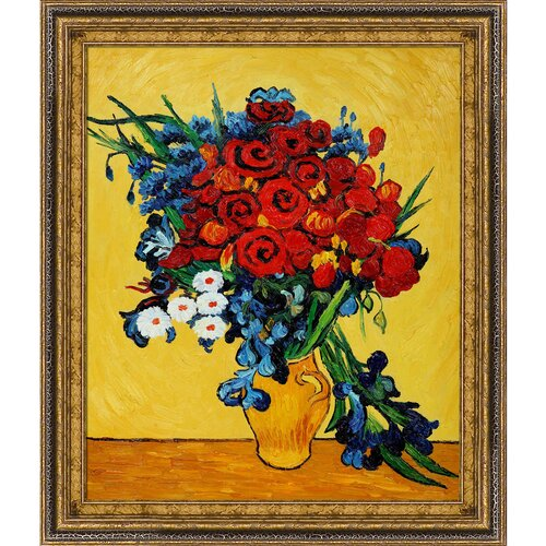 Poppies and Iris Collage by Van Gogh Framed Original Painting