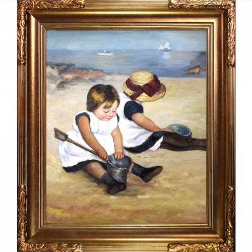 Tori Home Children Playing on the Beach Cassatt Framed Original Painting