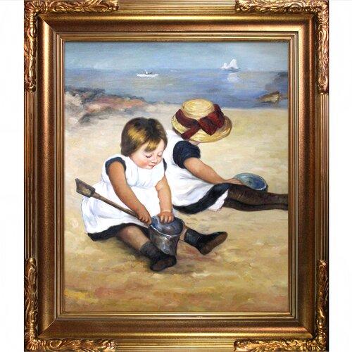 Tori Home Children Playing on the Beach Cassatt Framed Original Painting