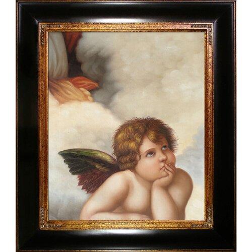 Madonna Sixtina (cherub detail) Raphael Framed Original Painting