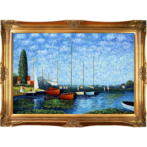 Tori Home Red Boats at Argenteuil Monet Framed Original Painting