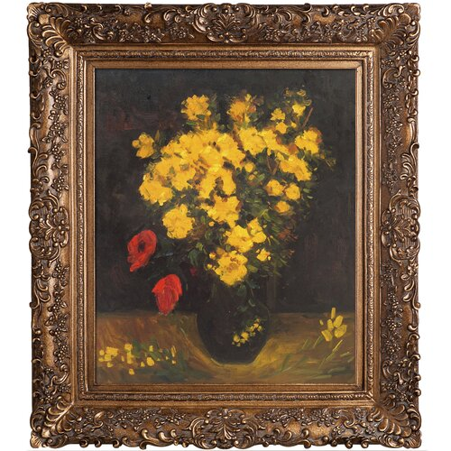 Tori Home Vase with Viscaria (Poppy Flowers) Van Gogh Framed Original Painting