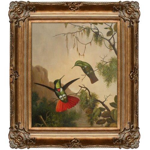 Two Hooded Visorbearer Hummingbirds by Martin Johnson Heade Framed Hand Painted Oil on Canvas