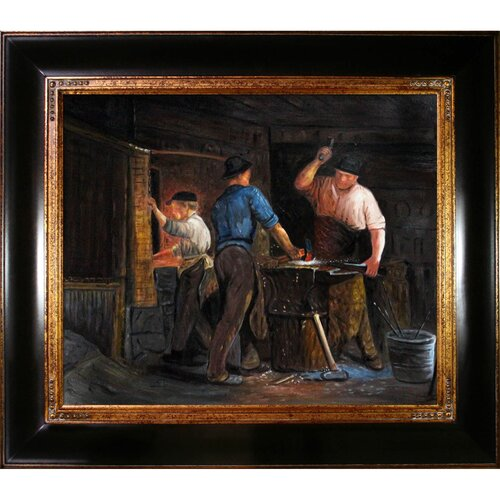 Blacksmith at Hornbaek by Kroyer Blacksmith Framed Hand Painted Oil on Canvas