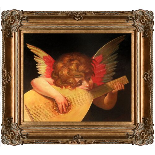 Tori Home Musical Angel by Rosso Fiorentino Framed Hand Painted Oil on Canvas