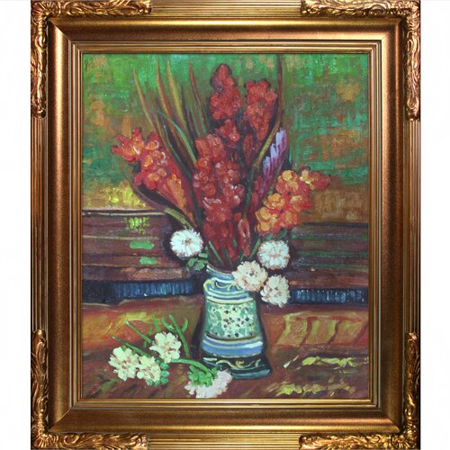 Tori Home Vase with Red Gladioli by Van Gogh Framed Hand Painted Oil on Canvas ...