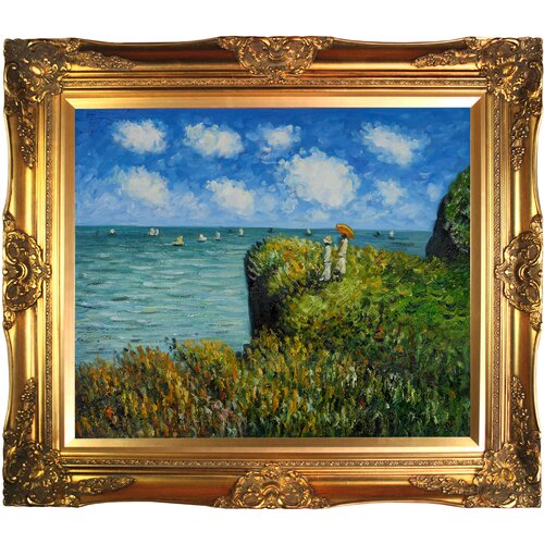 Cliff Walk at Pourville by Monet Framed Hand Painted Oil on Canvas