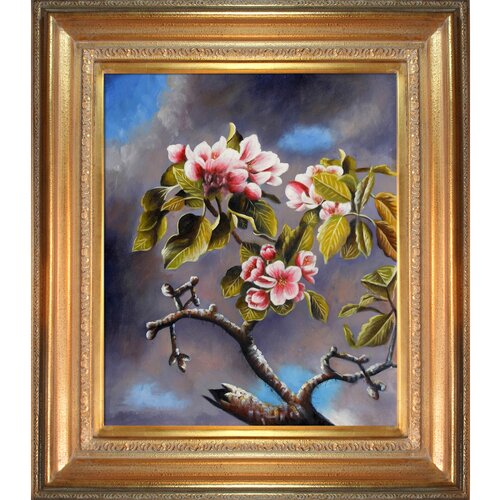 Tori Home Branch of Apple Blossoms Against Cloudy Sky Heade Framed Original Painting