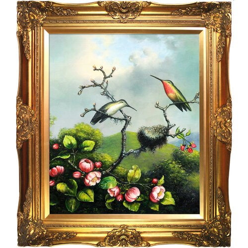 Tori Home Ruby Throated Hummingbird by Martin Johnson Heade Framed Hand Painted Oil on Canvas ...