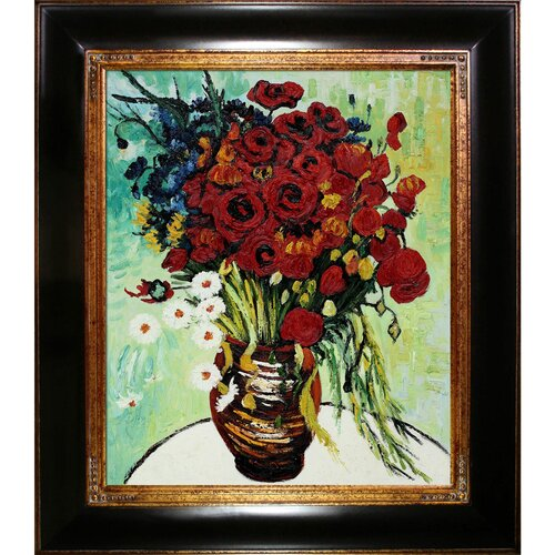 Vase with Daisies and Poppies by Van Gogh Oil Painting Framed Hand Painted Oil on ...