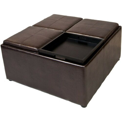 leather wood cocktail ottoman wayfair. Black Bedroom Furniture Sets. Home Design Ideas