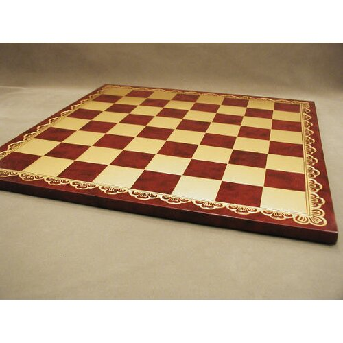 "Ital Fama 18"" Pressed Leather Chess Board"
