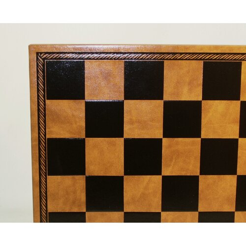 Pressed Leather Chess Board in Black / Tan
