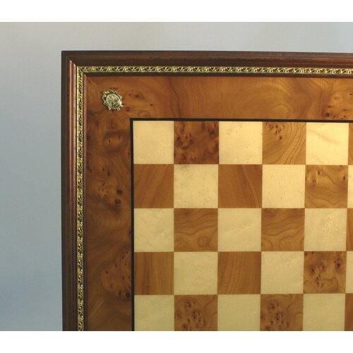 Elm Chess Board with Gold Trim