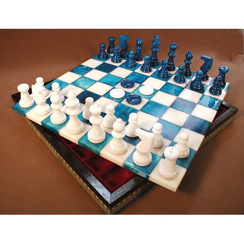 Scali Alabaster Inlaid Chest Chess Set in Blue / White