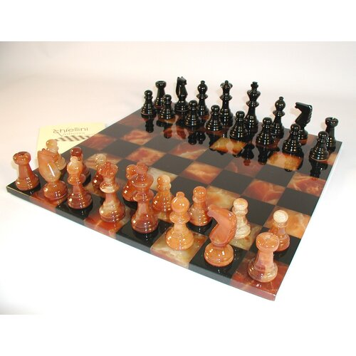 Scali Basic Alabaster Chess Set in Black / Brown