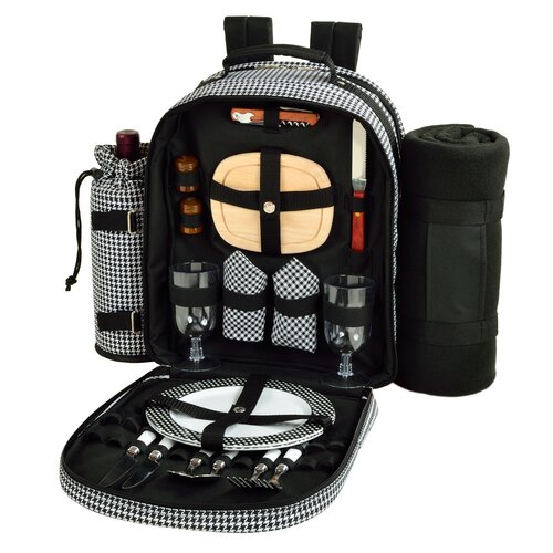 Houndstooth Picnic Backpack Cooler with Blanket for Two