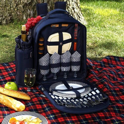 Picnic At Ascot Bold Picnic Backpack with Four Place Settings