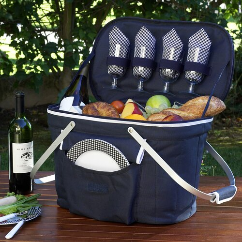Collapsible Insulated Picnic Basket with Four Place Settings