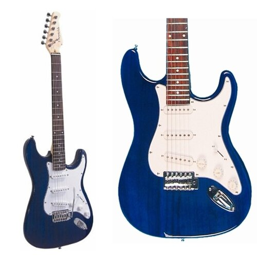 Stedman Pro Electric Guitar with Gig Bag and Cable in Transparent Blue