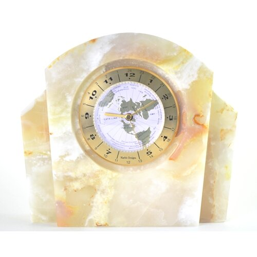 White Onyx World Clock