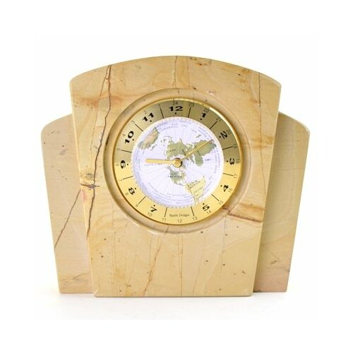 Teakwood Marble World Clock