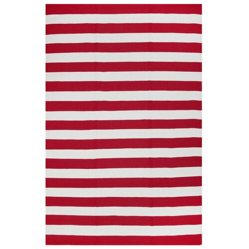 Nantucket Red/White Striped Indoor/Outdoor Rug