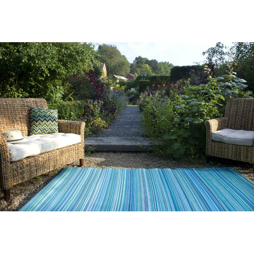 Fab Rugs Turquoise & Moss Green Cancun Stripe Indoor