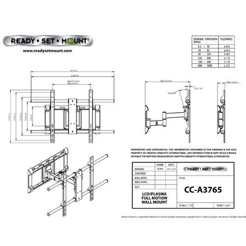 """Ready Set Mount Articulating Arm/Tilt/Swivel Universal Corner Mount for 37"""" - 65"""" Plasma/LCD/LED"""