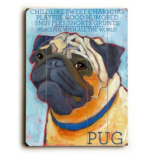 Pug Wood Sign
