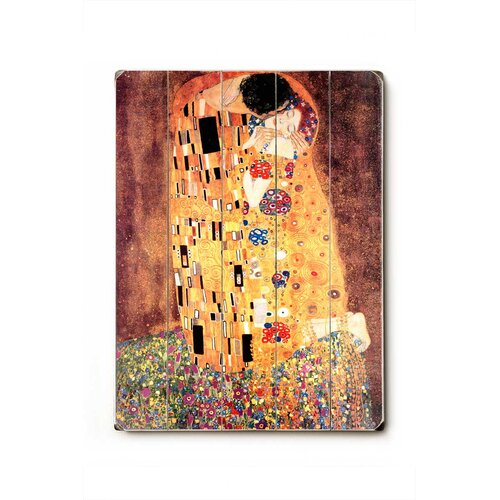 Artehouse LLC The Kiss Planked Painting Print Plaque