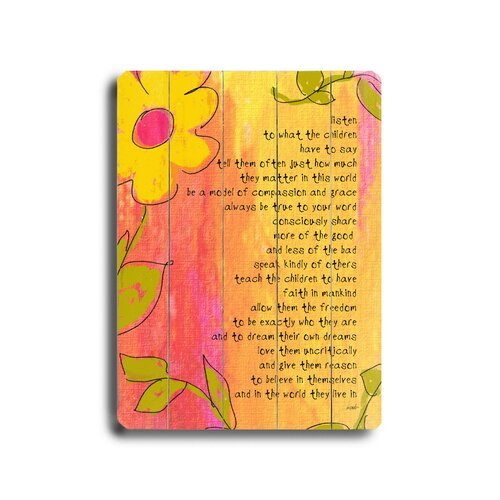 Artehouse LLC Listen to What the Children Say Textual Art Plaque