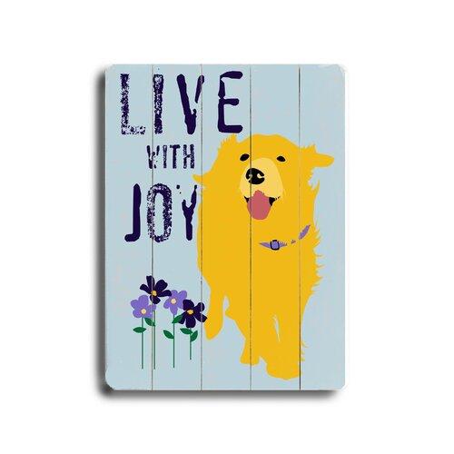 Artehouse LLC Love with Joy Planked Textual Art Plaque