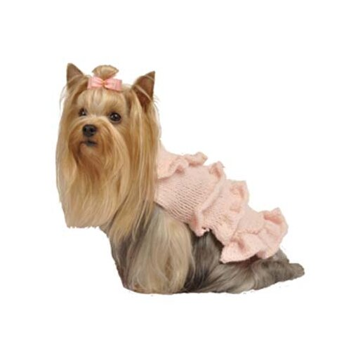 Max's Closet Multi Ruffle Dog Sweater Dress with Rosette