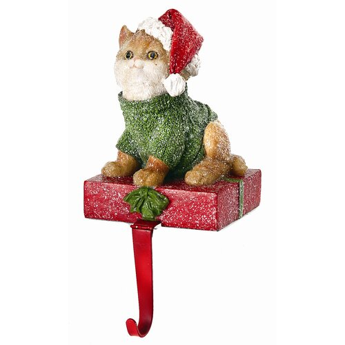Regency International Cat on Present Stocking Holder