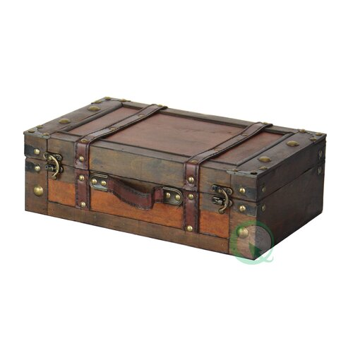 Quickway Imports Old Style Suitcase With Straps