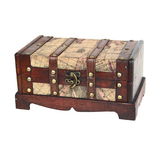 Quickway Imports Old World Map Wooden Trunk (2 Piece Set)