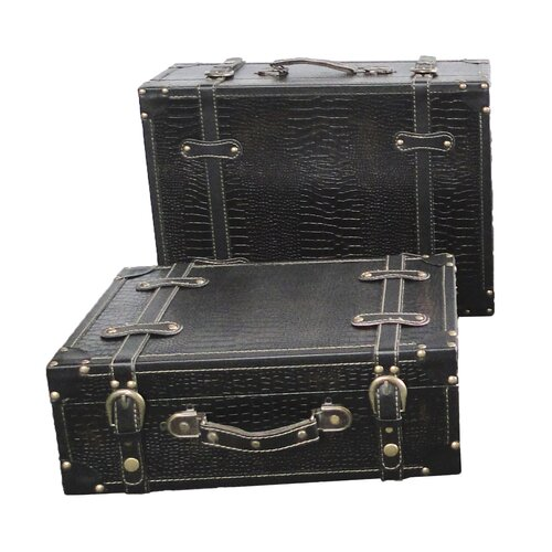Quickway Imports Antique Style Suitcase With Straps
