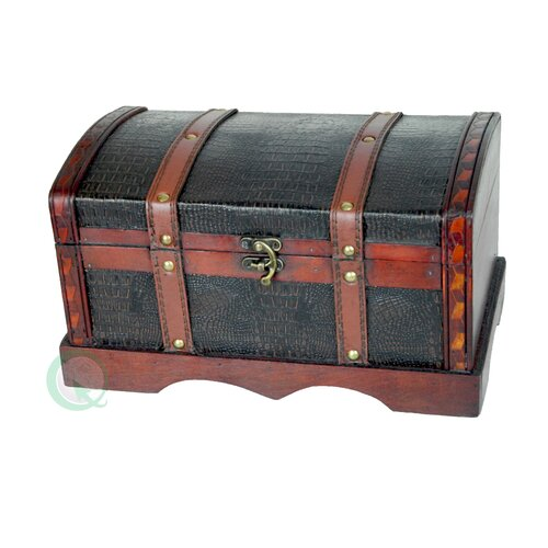 Quickway Imports Leather Wooden Chest