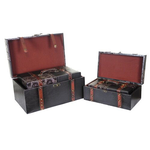 Quickway Imports Prince Leather Trunk (4 Piece Set)