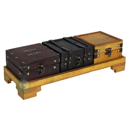 Quickway Imports Treasure Chests with Tray Set