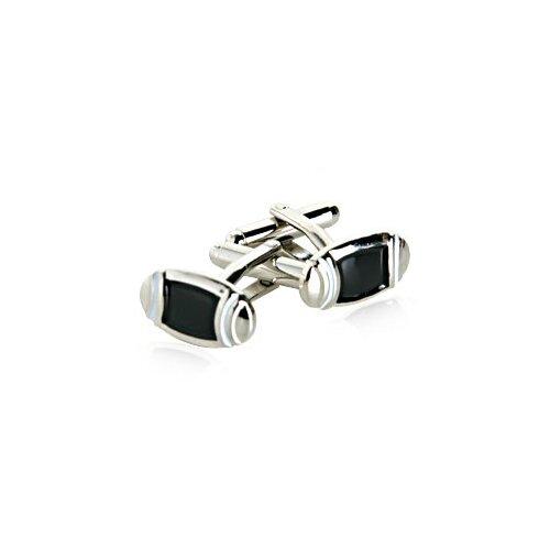 Cuff-Daddy Ovals Enamel Cufflinks in Black