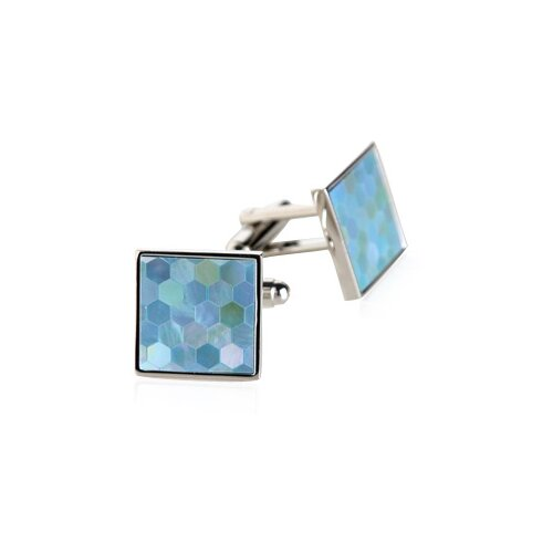 Mother of Pearl Honeycomb Cufflinks in Blue
