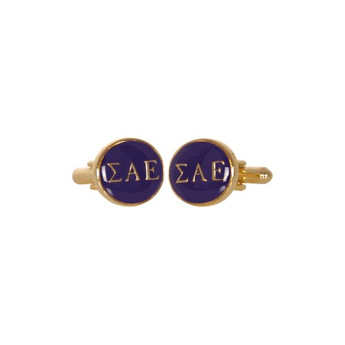 Sigma Alpha Epsilon Cufflinks in Purple / Gold