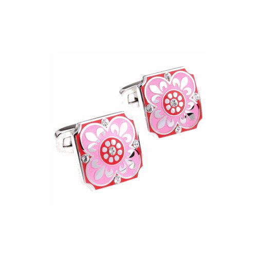 Crystal Button Cufflinks in Pink