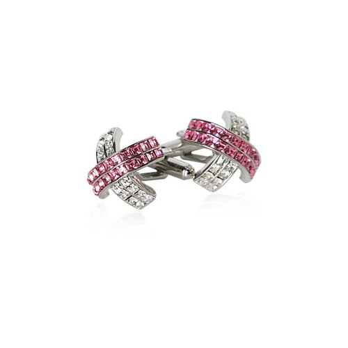 X Crystal Cufflinks in Pink