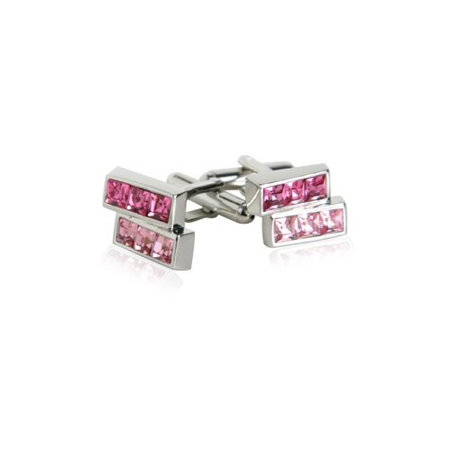 Offset Pink Crystals Cufflinks