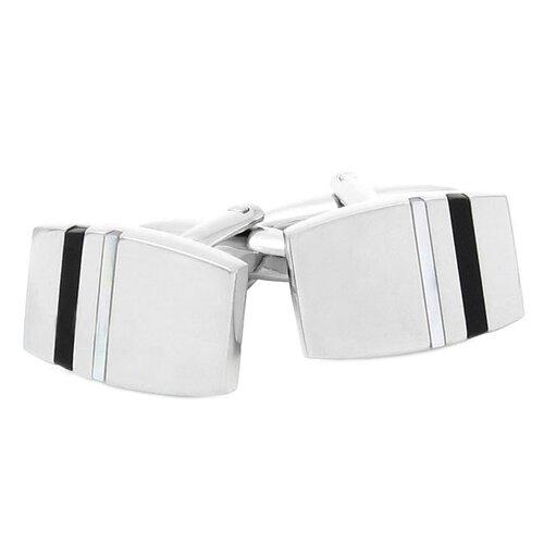 Silvertone Onyx Tab Cufflinks
