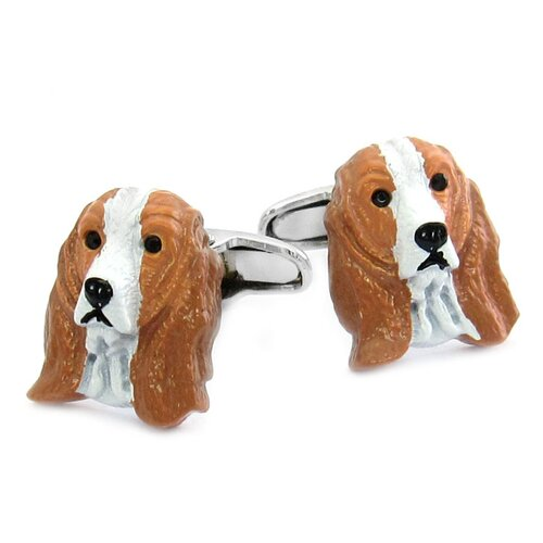 Cuff-Daddy Swarovski Crystal Painted Cocker Spaniel Dog Cufflinks